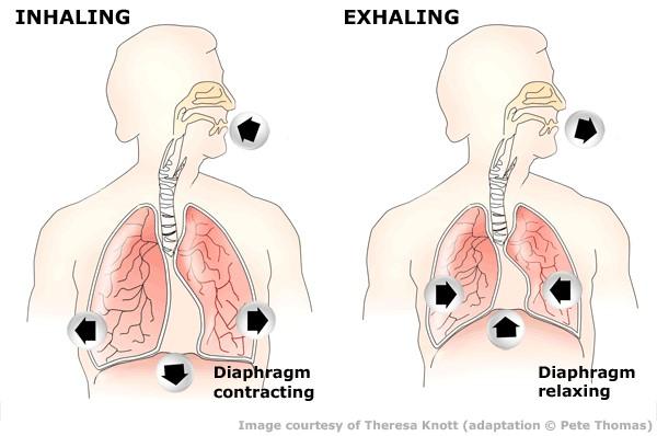rekeszizom-légzés hipertóniával
